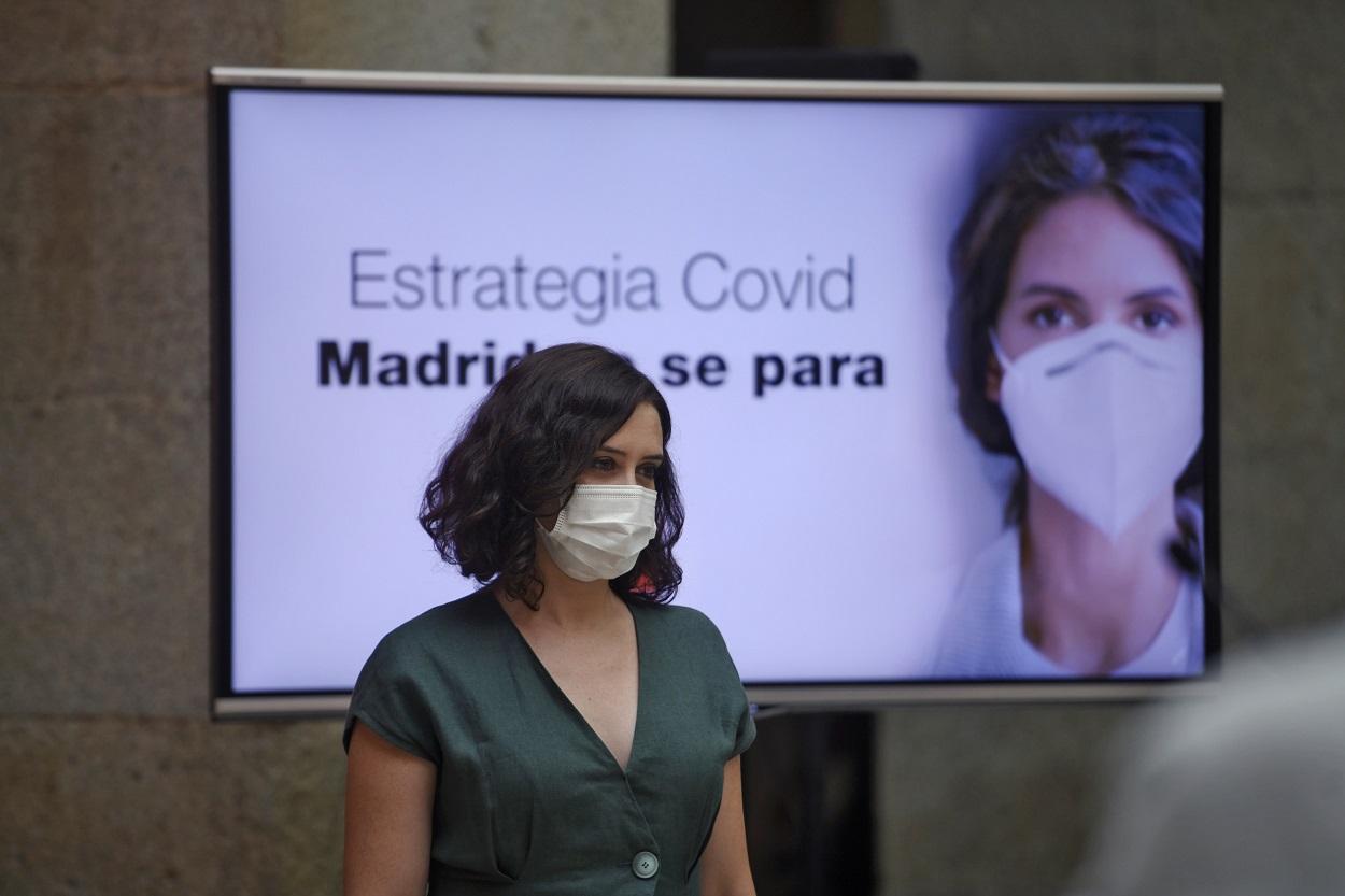La presidenta de la Comunidad de Madrid, Isabel Díaz Ayuso, presenta la estrategia de continuidad del Covid-19. E.P./Óscar Cañas