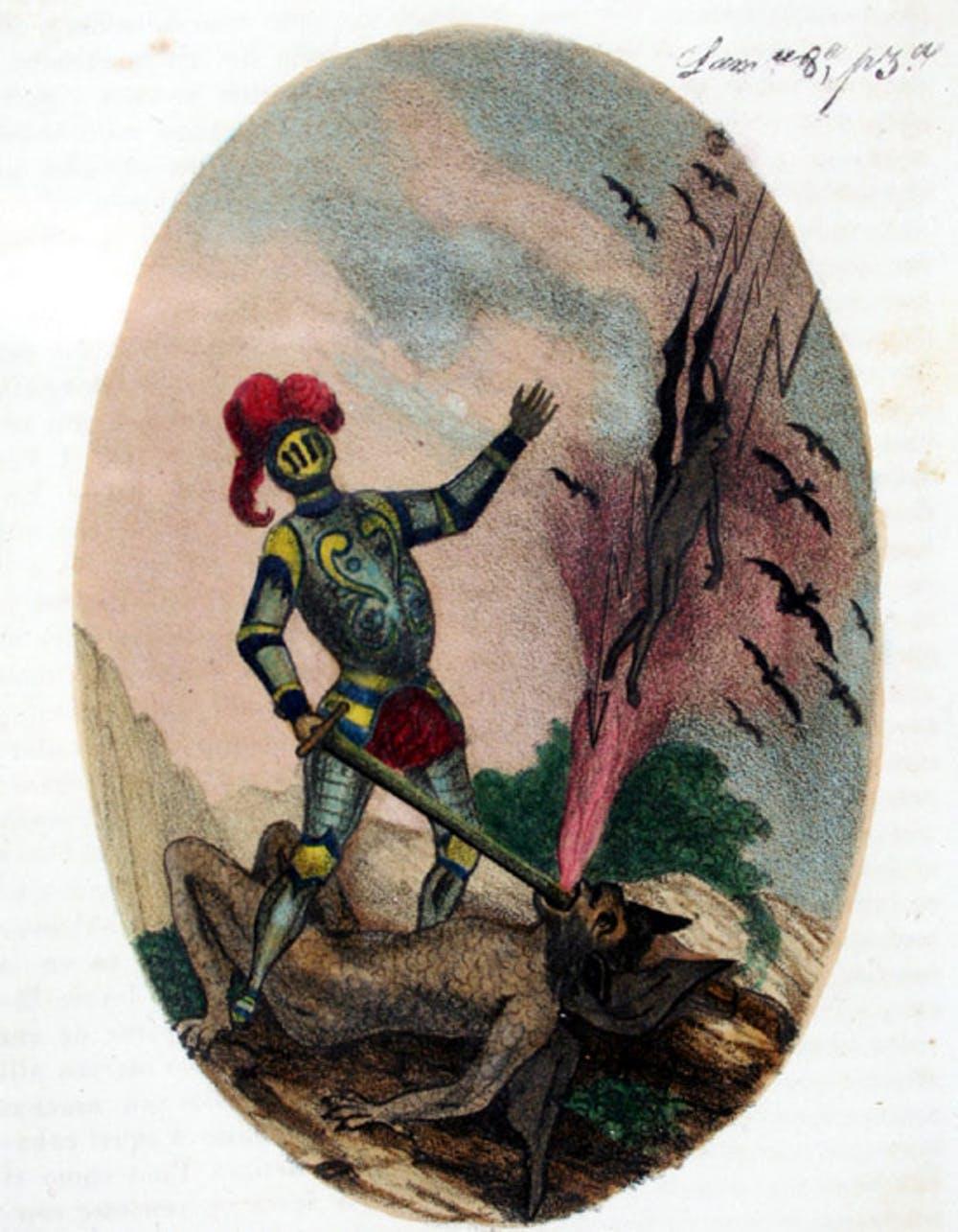 Amadís contra el Endriago. Litografía de la edición de Madrid, 1838. Wikimedia Commons