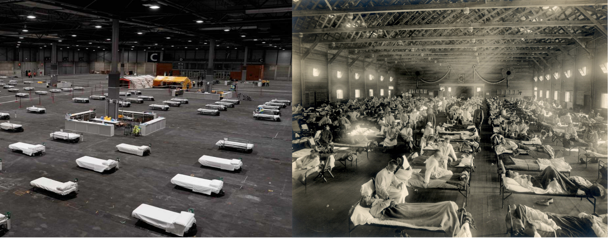 A la izquierda, hospital de campaña instalado en IFEMA, Madrid, que recibió pacientes de COVID-19 entre el 21 de marzo y el 1 de mayo de 2020. A la derecha, hospital de emergencia instalado en Camp Funston, Kansas, en 1918. RTVE / Otis Historical Archives