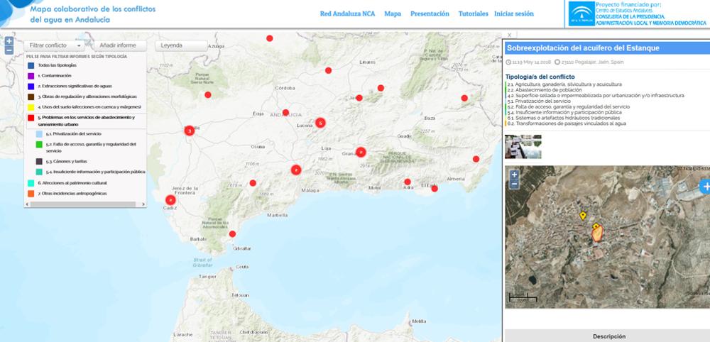 Interfaz del mapa de los conflictos del agua en Andalucía (Mapa-RedNCA). Mapa-RedNCA, Author provided