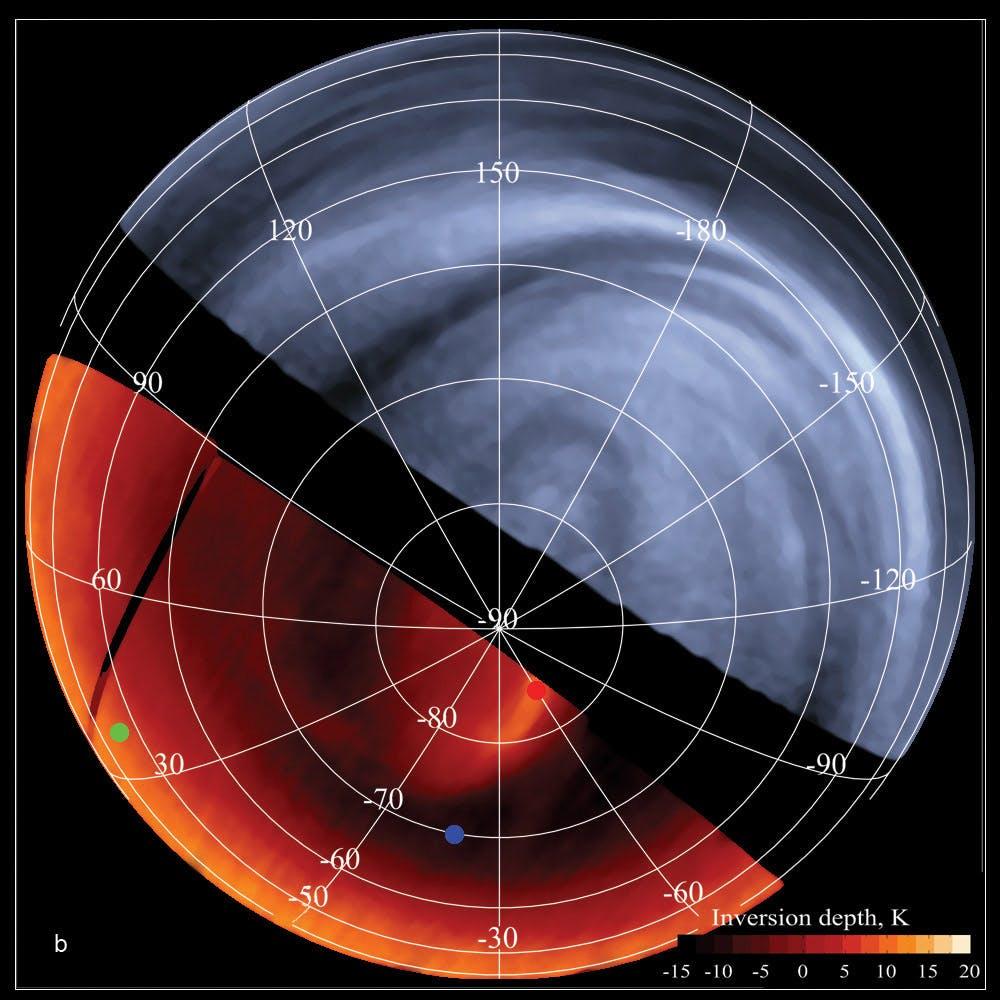 Venus visto por la sonda europea Venus Express en el infrarrojo y ultravioleta, rangos del espectro electromagnético que acotan el visible. La detección de fosfano se ha realizado en el rango milimétrico. ESA/MPS/DLR/IDA VIRTIS y ESA/VIRTIS/INAF-IASF/Obs. de Paris-LESIA.