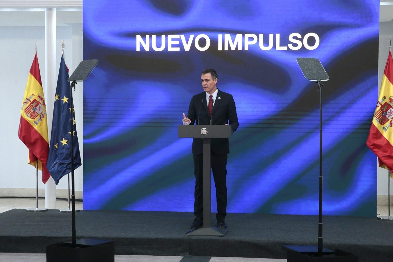El presidente del Gobierno de España, Pedro Sánchez, durante la presentación del Plan de Recuperación, Transformación y Resiliencia de la Economía española en el palacio de La Moncloa el 7 de octubre de 2020. Pool Moncloa / JM Cuadrado