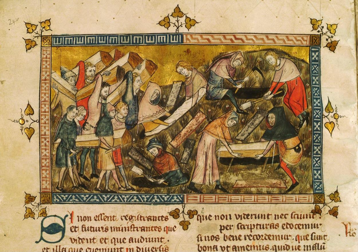 El pueblo de Tournai entierra a las víctimas de la Peste Negra. Miniatura de Pierart dou Tielt que ilustra una obra de Gilles li Muisit (Tournai, c. 1353). KIK-IRPA, Bruselas