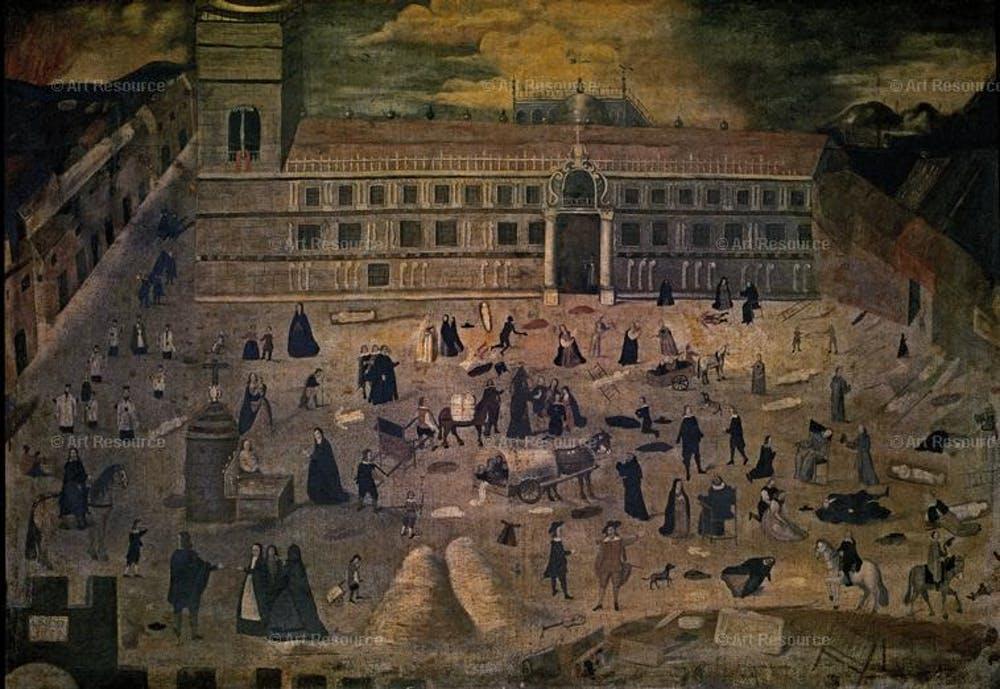 La Peste. Hospital del Pozo Santo de Sevilla. (Anónimo, 1649). Wikimedia Commons