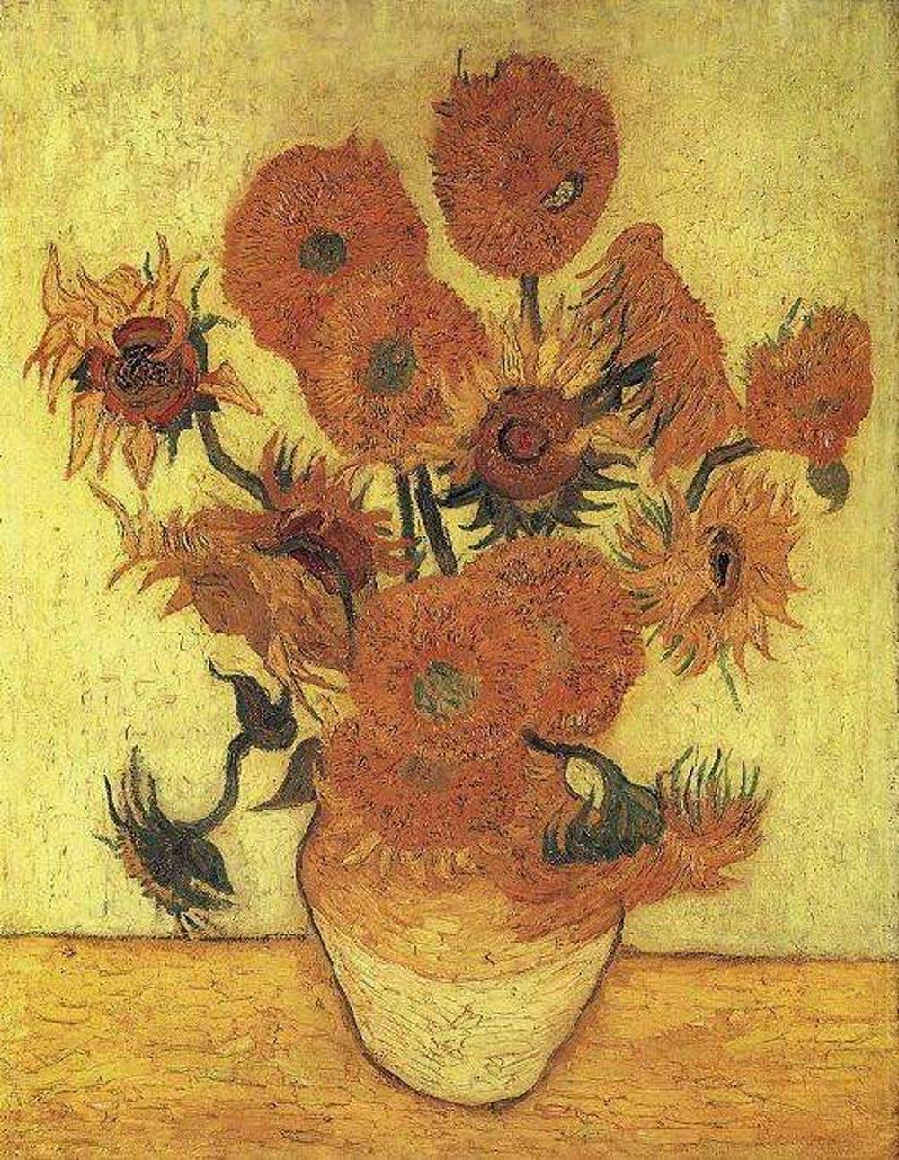Jarrón con catorce girasoles (Vincent van Gogh,1889). Wikimedia Commons / Sompo Japan Museum of Art, Tokio, Japón.
