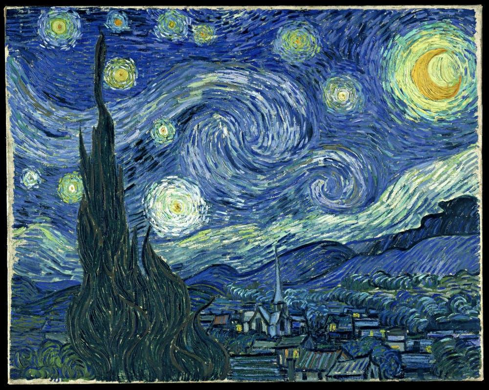 La noche estrellada (Vincent van Gogh,1889). Wikimedia Commons