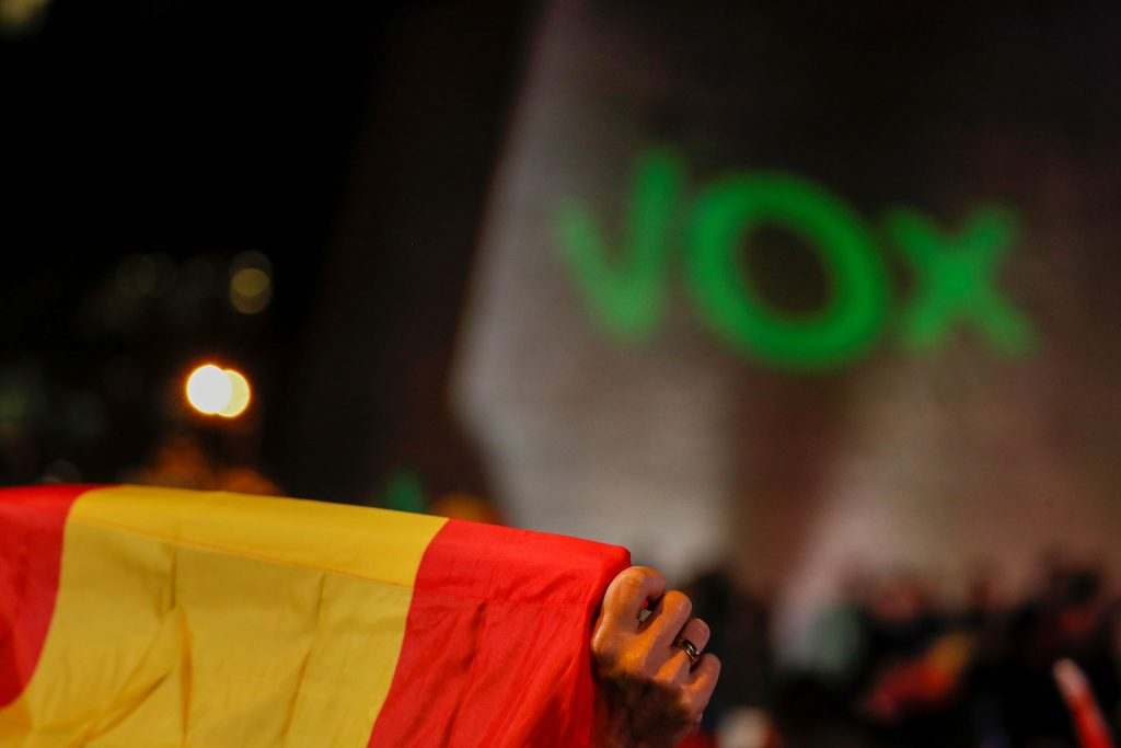 Un seguidor de Vox sostiene una bandera de España durante el mitin de cierre de campaña para las elecciones del 10-N de 2019. REUTERS/Susana Vera