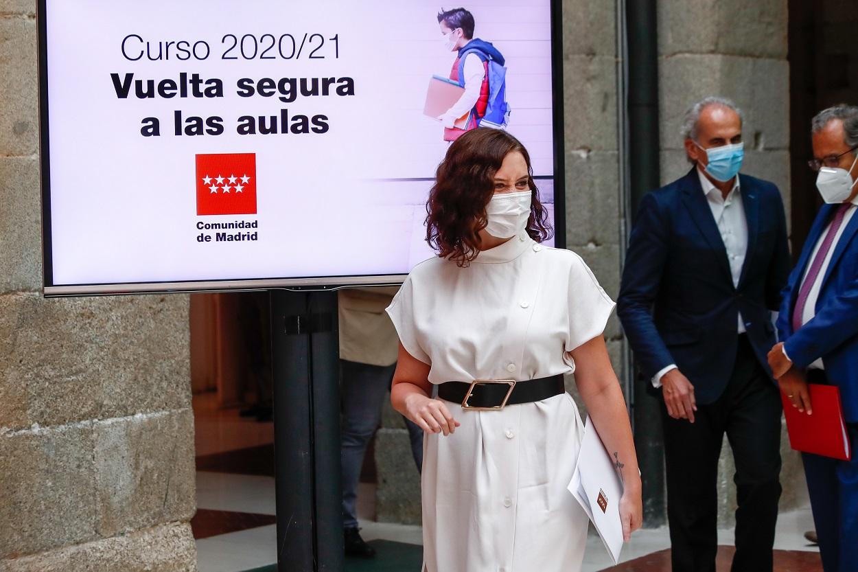 La presidenta de la Comunidad de Madrid, Isabel Díaz Ayuso, en la presentación de la estrategia del Gobierno regional para la vuelta a las aulas y el inicio del curso escolar 2020/21. E.P.-/Óscar J.Barroso