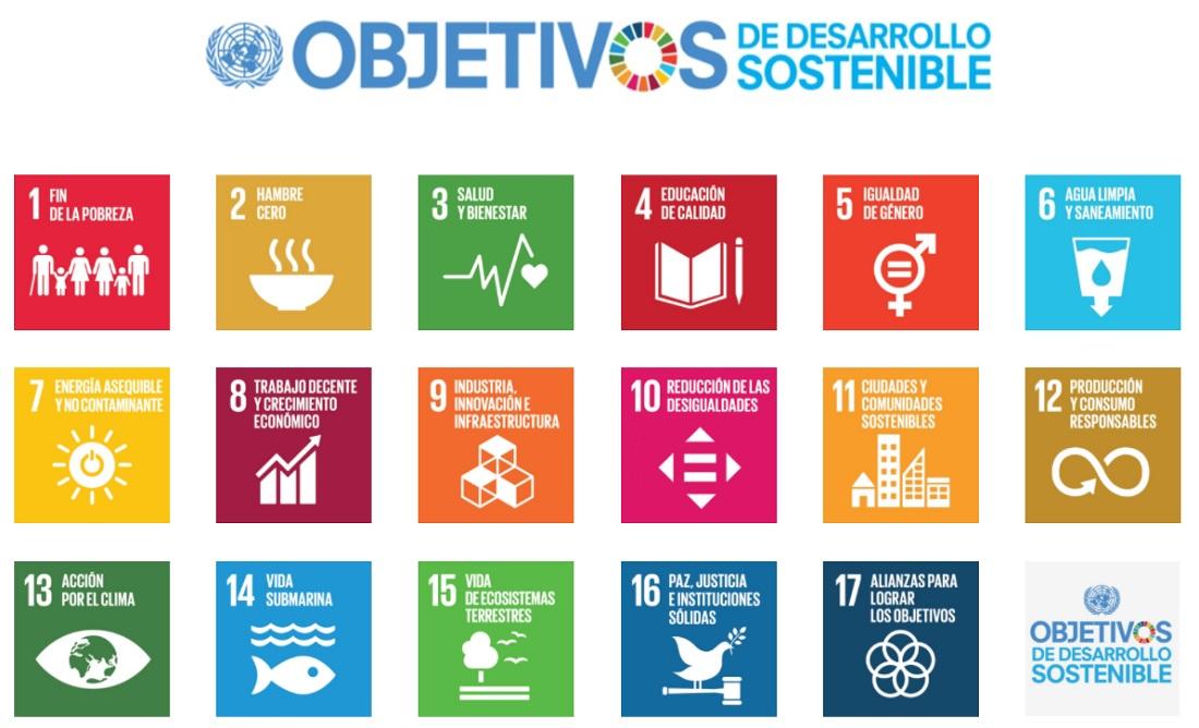 Los 17 Objetivos de Desarrollo Sostenible (ODS).