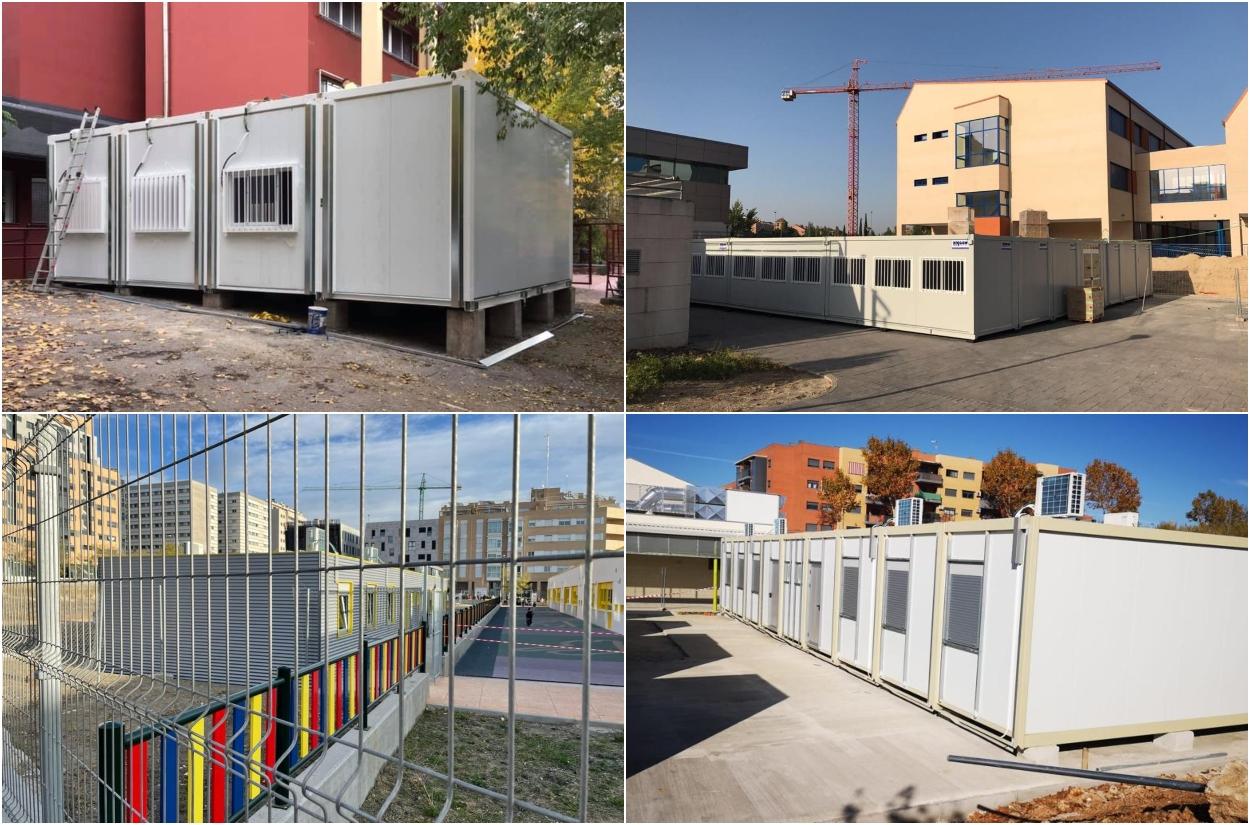 Barracones dispuestos como aulas en colegios públicos de la Comunidad de Madrid. MÁS MADRID