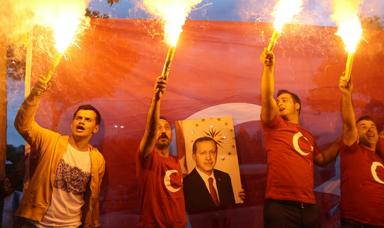 Partidarios de Erdogan, el día de las elecciones de 2018. Srdjan Suki/EPA
