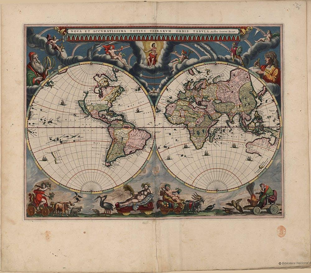 El Atlas Maior de Blaeu (1662-1672), un atlas mundial de la Edad de Oro de la cartografía holandesa/neerlandesa (c. 1570s-1670s) y obra de Willem Blaeu y su hijo Joan Blaeu, ambos cartógrafos oficiales de la Compañía Neerlandesa de las Indias Orientales. Wikimedia Commons / Biblioteca Nacional de España