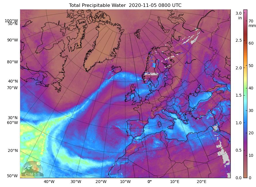 Imagen de satélite donde se observa un río atmosférico que atraviesa el Atlántico en dirección a Islandia. MIMIC-TPW v2, Author provided