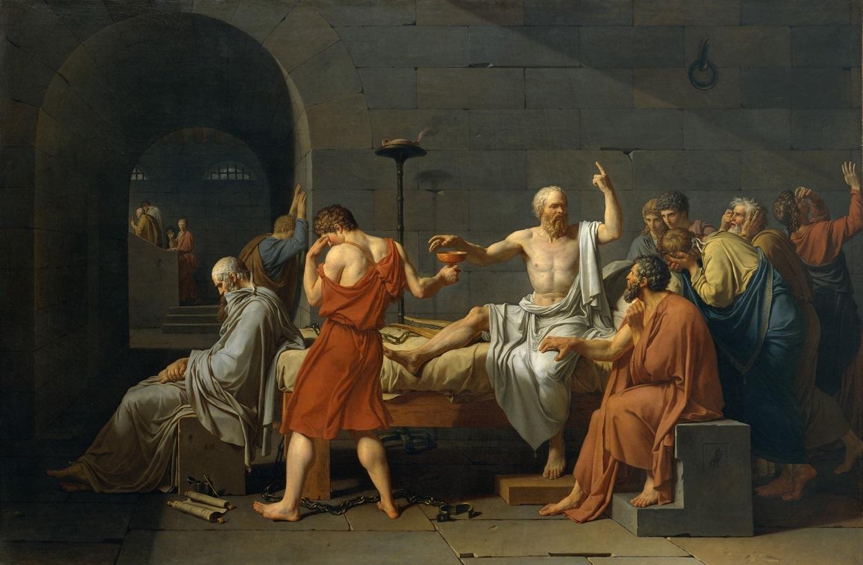 La muerte de Sócrates (Jacques-Louis David, 1787). Shutterstock / Everett Collection