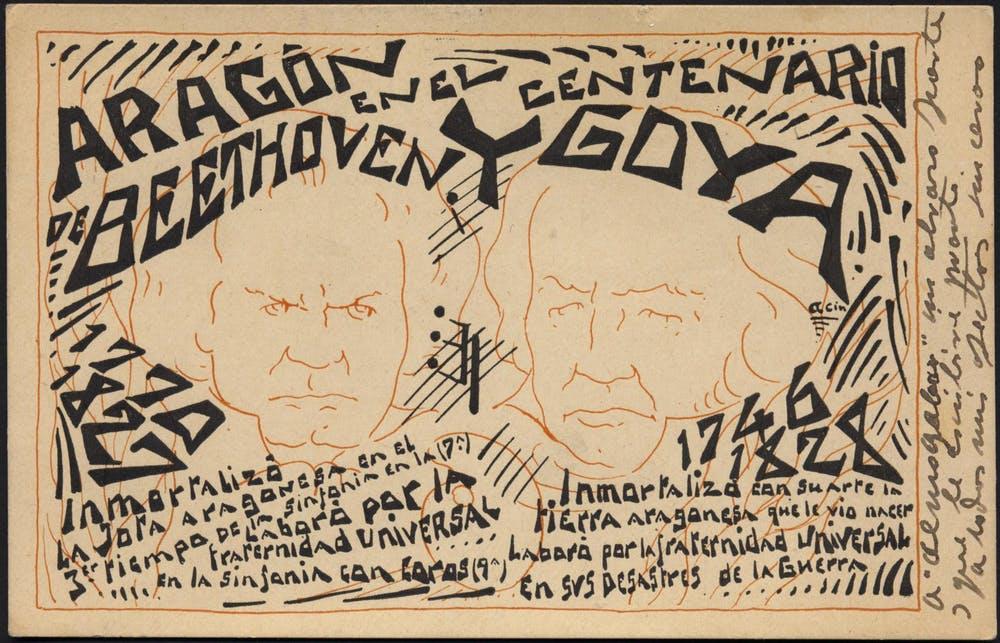 Tarjeta conmemorativa del centenario de Goya y Beethoven, con los rostros de ambos creadores, obra de Ramón Acín, 1928. Fundación Ramón y Katia Acín