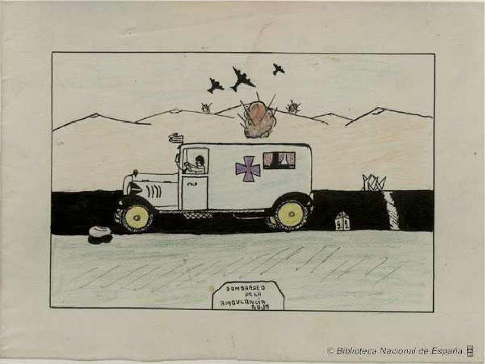 Bombardeo de la ambulancia roja. Valencia. Colonia familiar de Puebla Larga. Fernando Huertas Banegas. 13 años. Biblioteca Nacional de España