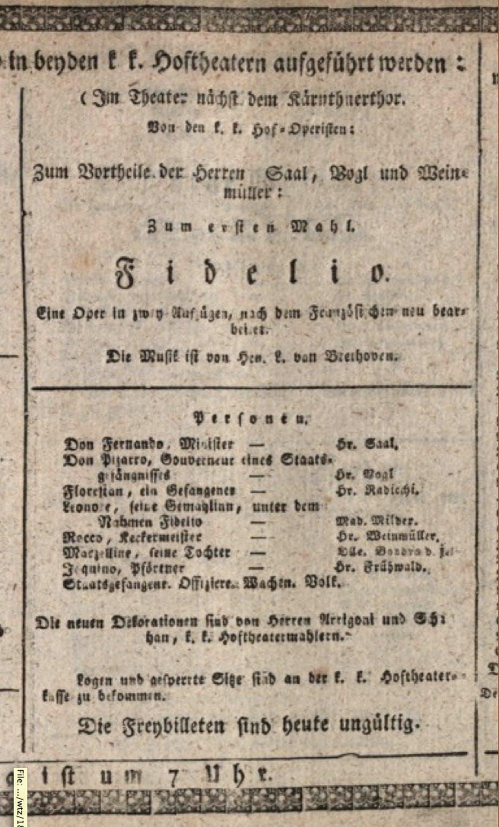Programa de mano del estreno de la versión definitiva de Fidelio en el Kärntnertortheater de Viena el 23 de mayo de 1814 con dirección del propio Beethoven. Wikimedia Commons