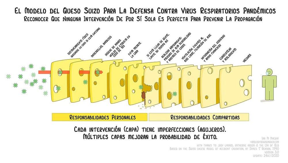 Adaptación del modelo de 'Queso Suizo' de Virology Down Ander. Wikimedia Commons / Ian M MacKay, CC BY
