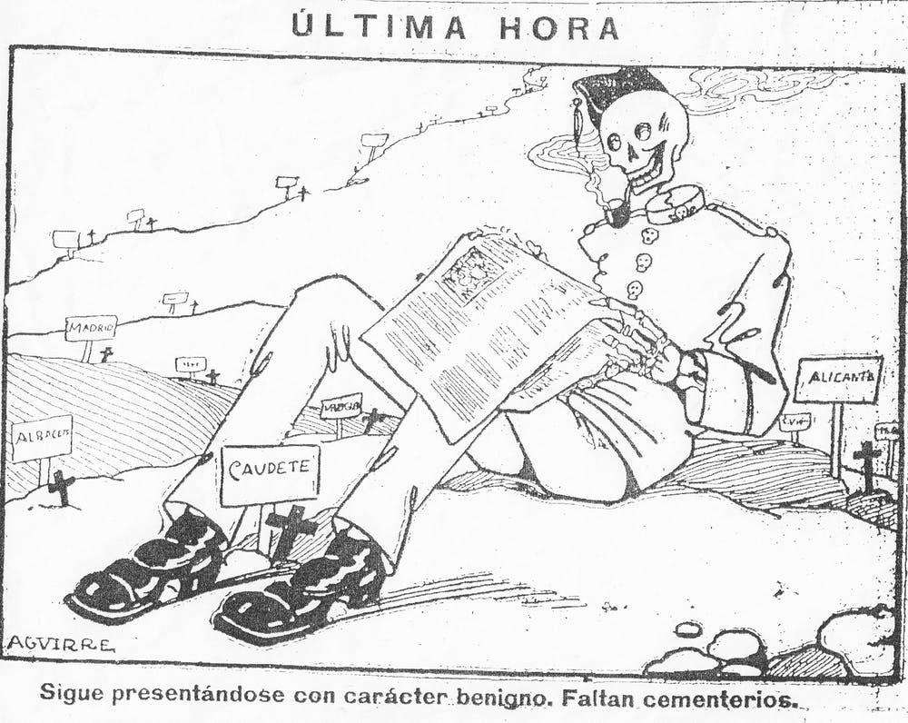 Viñeta de Lorenzo Aguirre publicada en El Fígaro el 25 de septiembre de 1918 que hace referencia al Soldado de Nápoles, nombre dado inicialmente a la enfermedad por ser tan pegadiza como la partitura de canción del mismo nombre perteneciente a la zarzuela La canción del olvido (Sarachaga, Fernández-Shaw Iturralde y Serrano, 1916) . Wikimedia Commons / El Fígaro