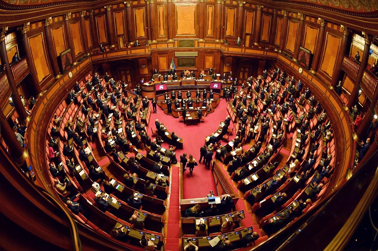 Vista del Senado italiano, durante la moción de confianza presentada por el primer ministro Giuseppe Conte. REUTERS/Andreas Solaro/Pool