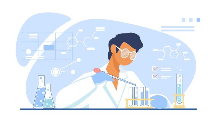 Ilustración de un científico elaborando una vacuna