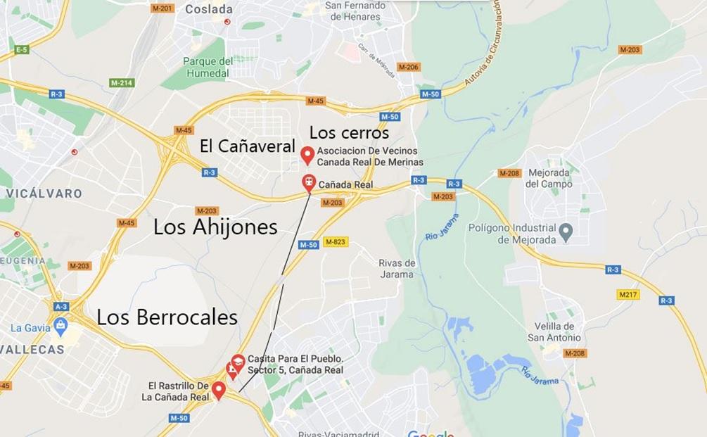 Cañada Real, en el plano de Madrid.