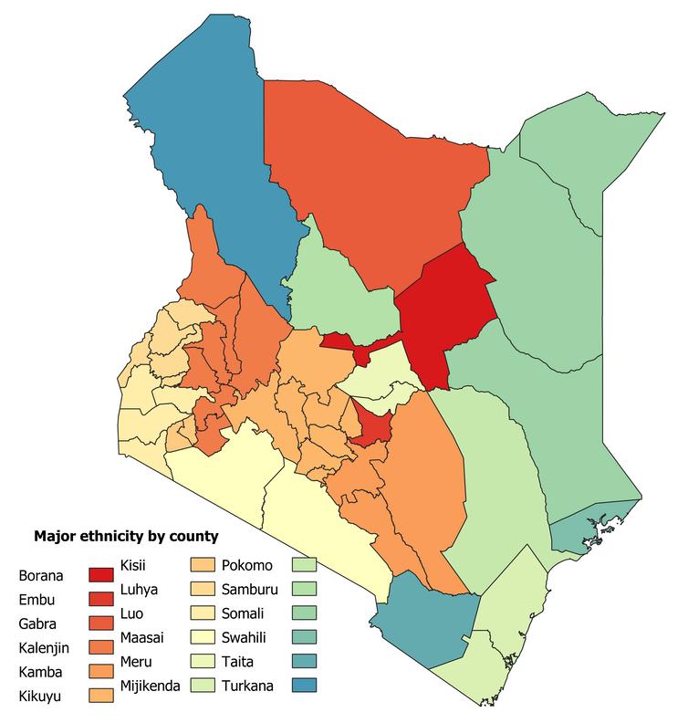 Grupo étnico mayoritario en cada uno de los 47 condados de Kenia. Iván Kim