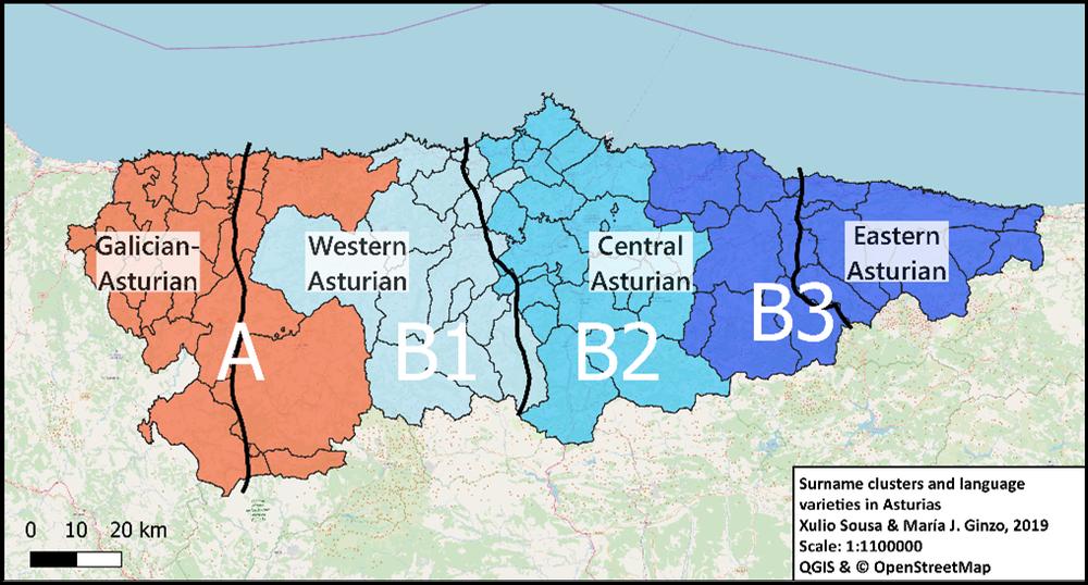 Regiones de apellidos y límites lingüísticos en Asturias.