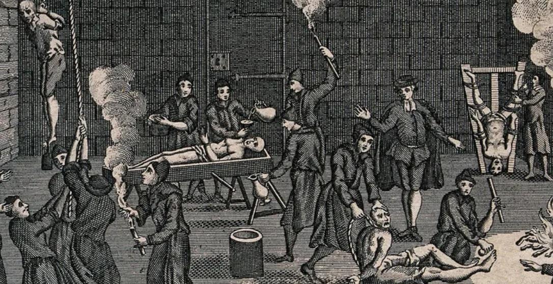 Grabado inglés que muestra una celda de la Inquisición en la que se practican cuatro modalidades de tortura