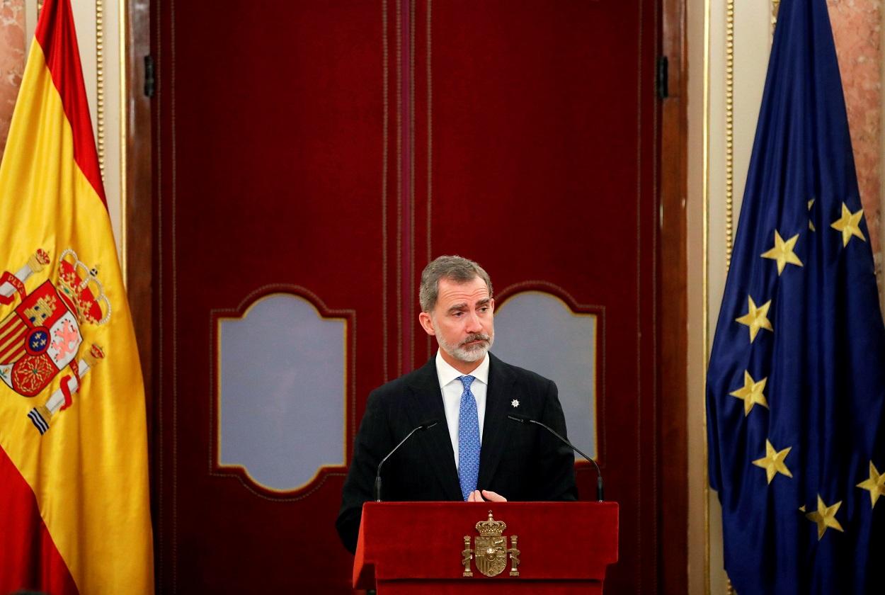 El rey Felipe VI, durante su intervención en el acto del 40 aniversario del 23-F, en el Congreso de los Diputados (Madrid). REUTERS/Juan Carlos Hidalgo/Pool