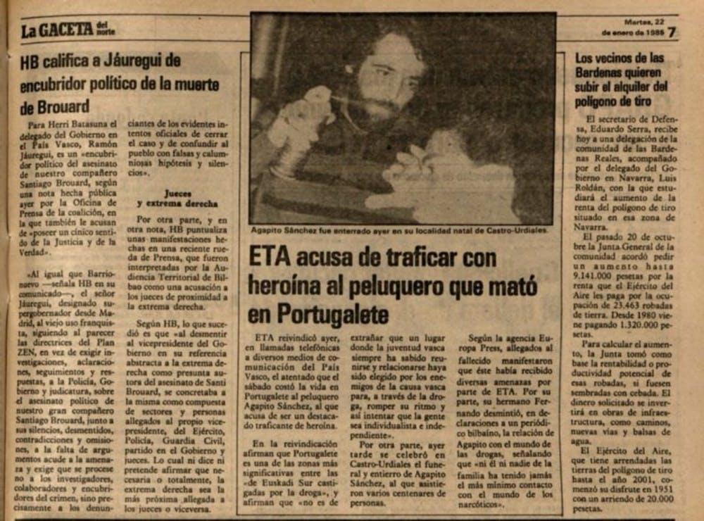Recorte de La Gaceta del Norte del martes 22 de enero de 1985.