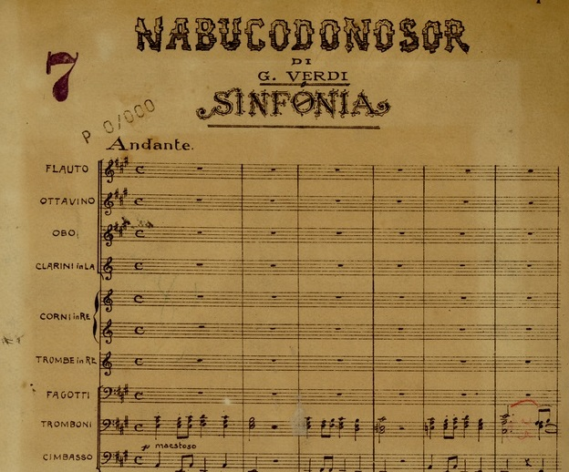 Partitura de Nabucco, de Giuseppe Verdi. Archivio Storico Ricordi
