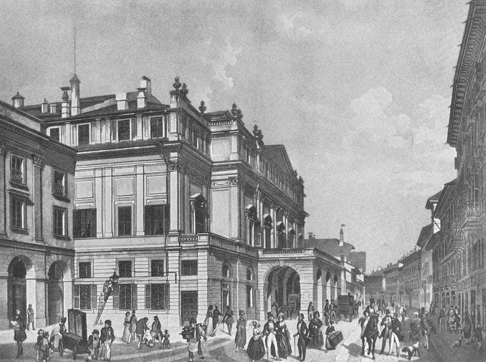 La Scala de Milán hacia 1850. Wikimedia Commons