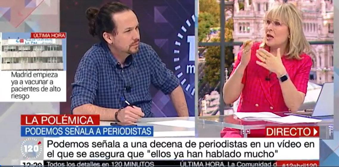 Iglesias durante la entrevista en Telemadrid junto a la periodista María Rey.- TELEMADRID
