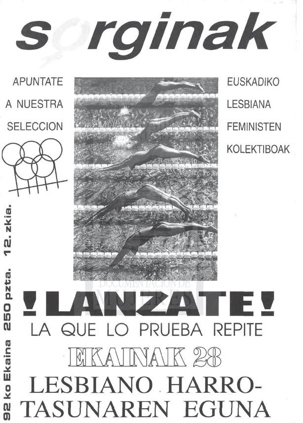 Número 12 de la revista Sorginak, editada por Colectivos de Lesbinanas Feministas de Euskadi. Año: 1992. Fuente: Emakumeen Dokumentazio Zentroa Maite Albiz Centro de Documentación de Mujeres