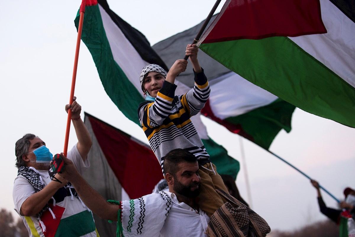 Una familia ondea las banderas en defensa de Palestina. - Alberto Valdes / EFE