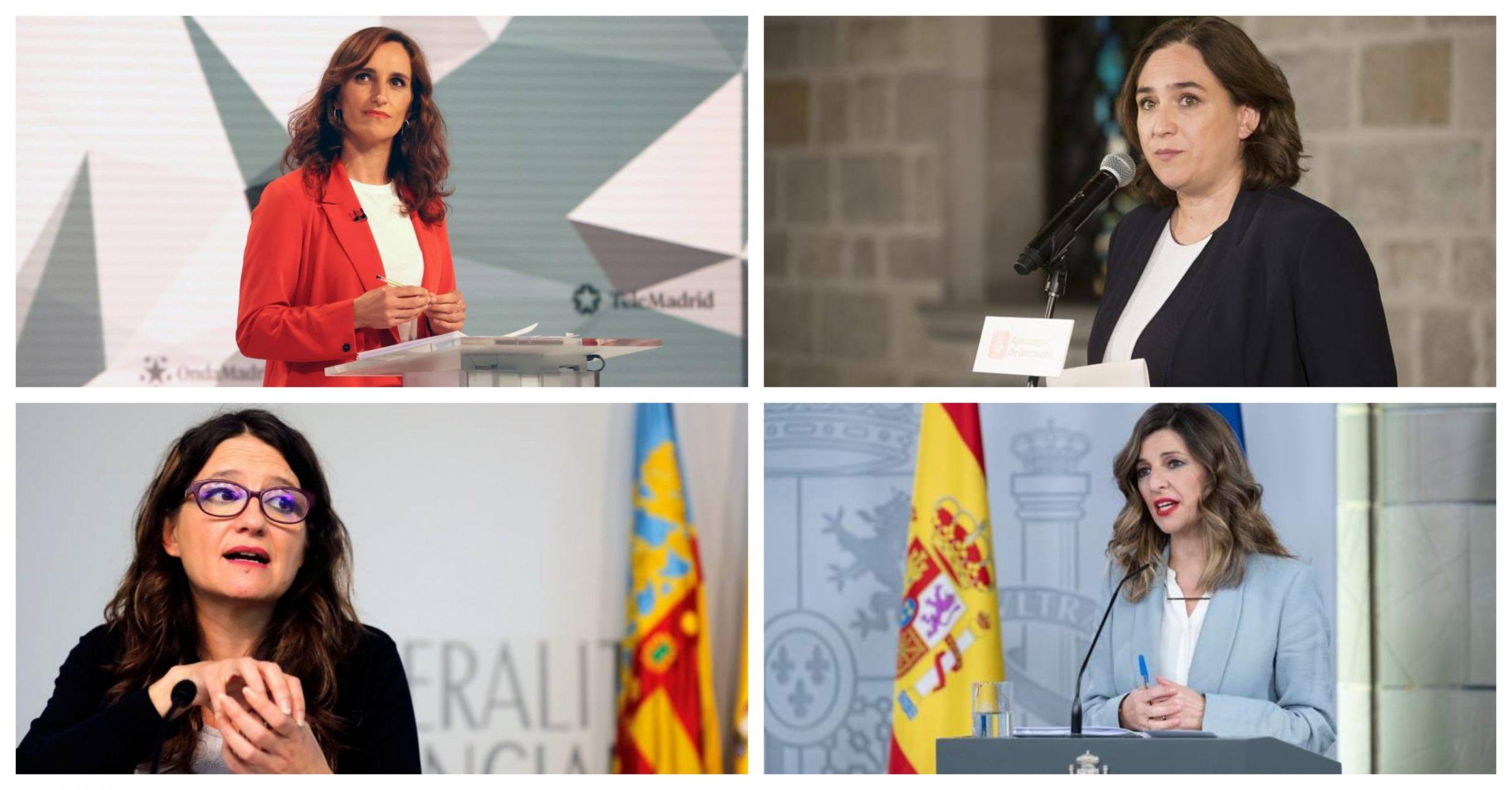 De izquierda a derecha y de arriba a abajo: Mónica García, Ada Colau, Mónica Oltra y Yolanda Díaz- Imágenes de EFE
