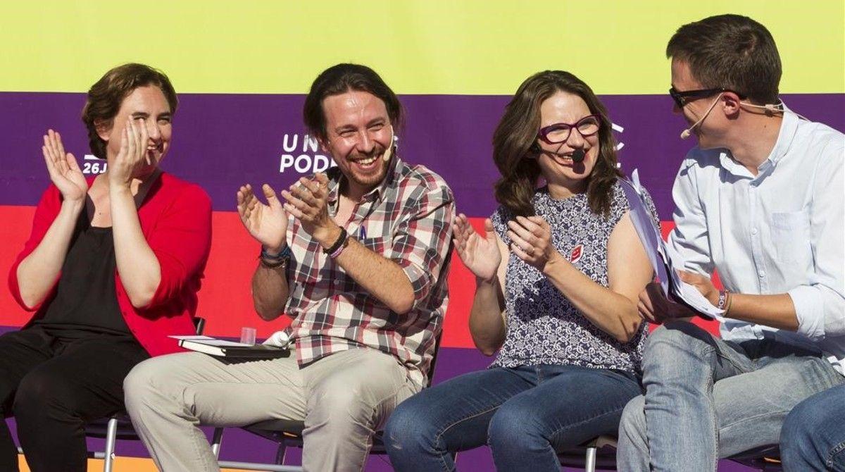 Ada Colau, Pablo Iglesias, Mònica Oltra e Íñigo Errejón durante el mitin en Palma en una imagen de archivo.- EFE