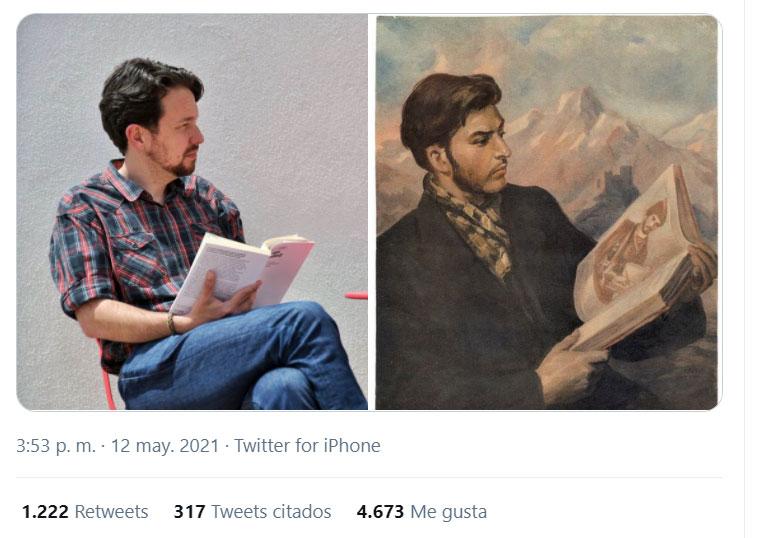 Montaje subido a Twitter por Javier Durán con la teoría de que Iglesias estaba imitando a Stalin
