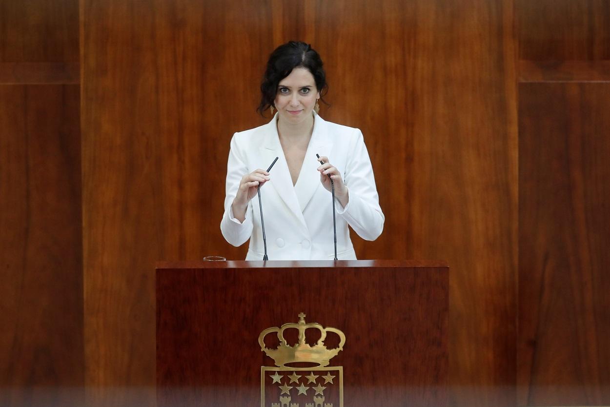 Isabel Díaz Ayuso, expone su programa de gobierno para estos dos años de legislatura durante la primera jornada del debate de investidura en la Asamblea de Madrid. EFE/Juan Carlos Hidalgo/POOL