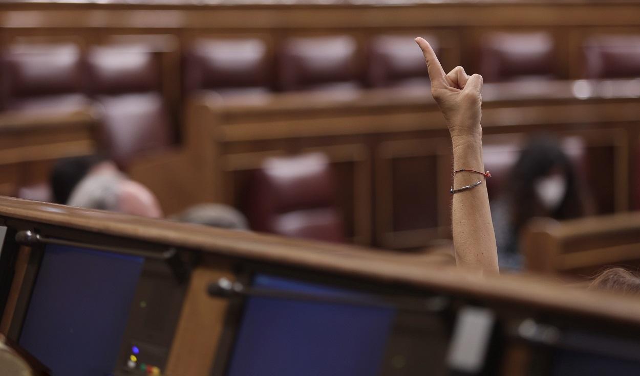 Una diputada indica a sus compareños de grupo el sentido de su voto, en una sesión plenaria del Congreso de los Diputados. E.P./E.Parra/POOL