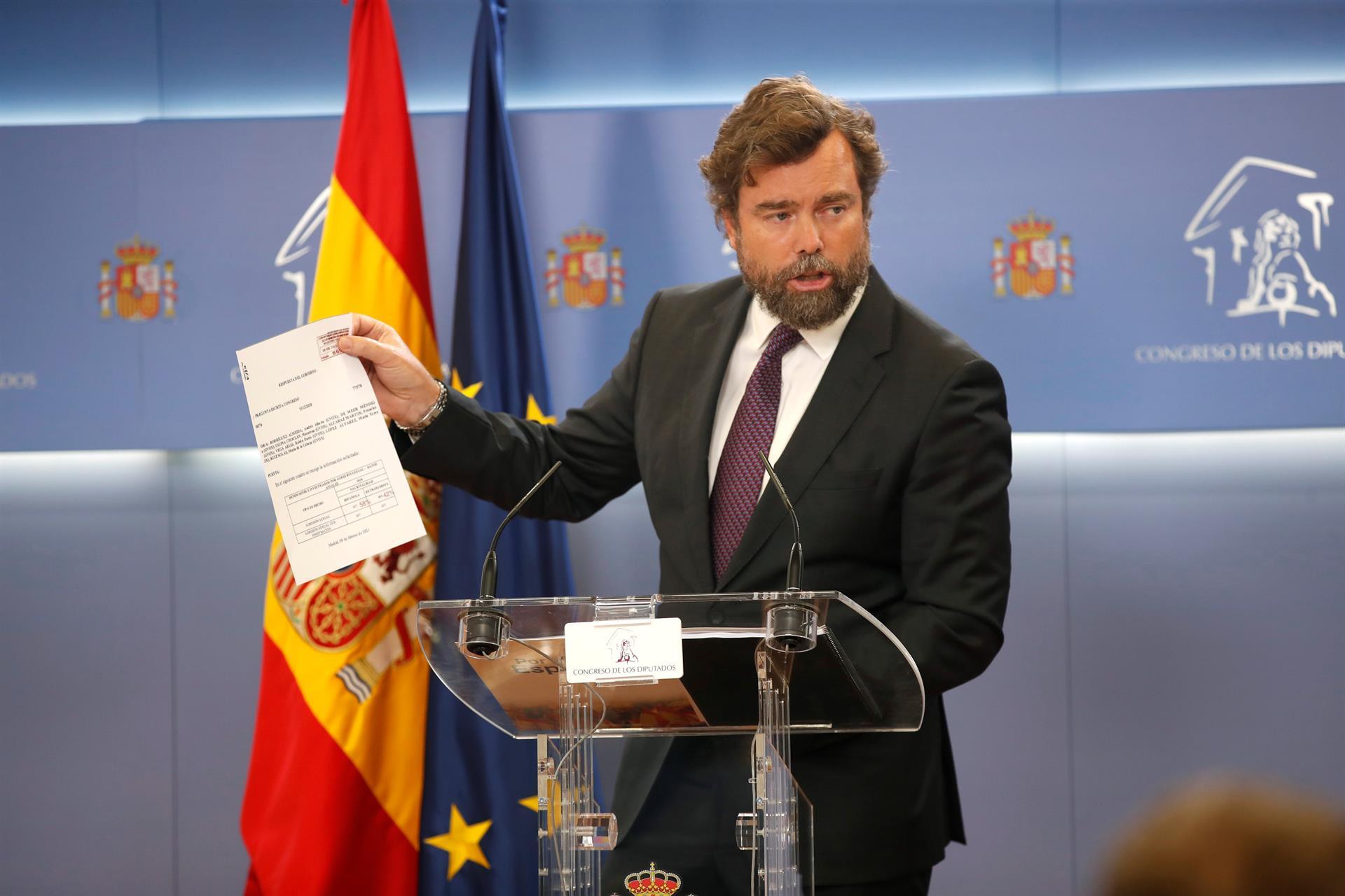 El portavoz de Vox, Iván Espinosa de los Monteros, durante la rueda de prensa ofrecida este miércoles en el Congreso. EFE/Javier Lizón