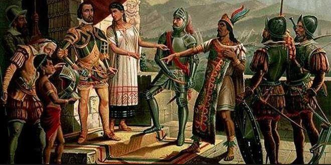 Pintura que recrea el encuentro entre Hernán Cortés y Moctezuma.
