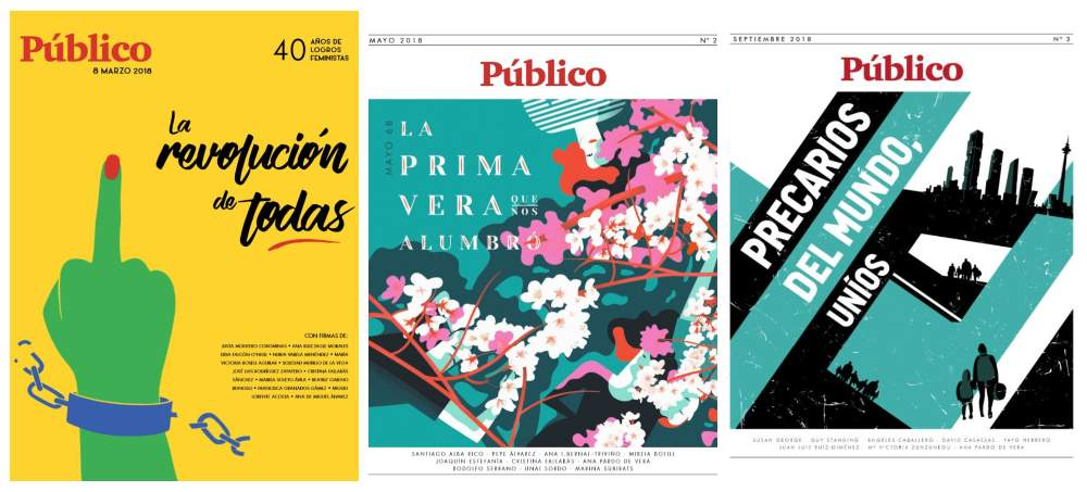 Portadas de los especiales en papel editados por Público en 2018.