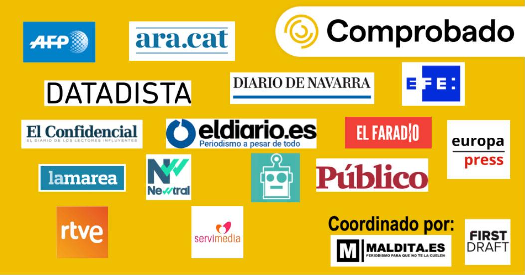 Cabeceras y logos de los primeros 15 medios que forma parte de 'Comprobado'.