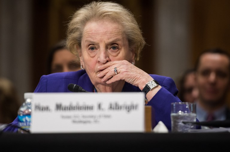 La ex secretaria de Estado de EEUU Madeleine Albright, en una comparecencia en el Senado. AFP/NICHOLAS KAMM