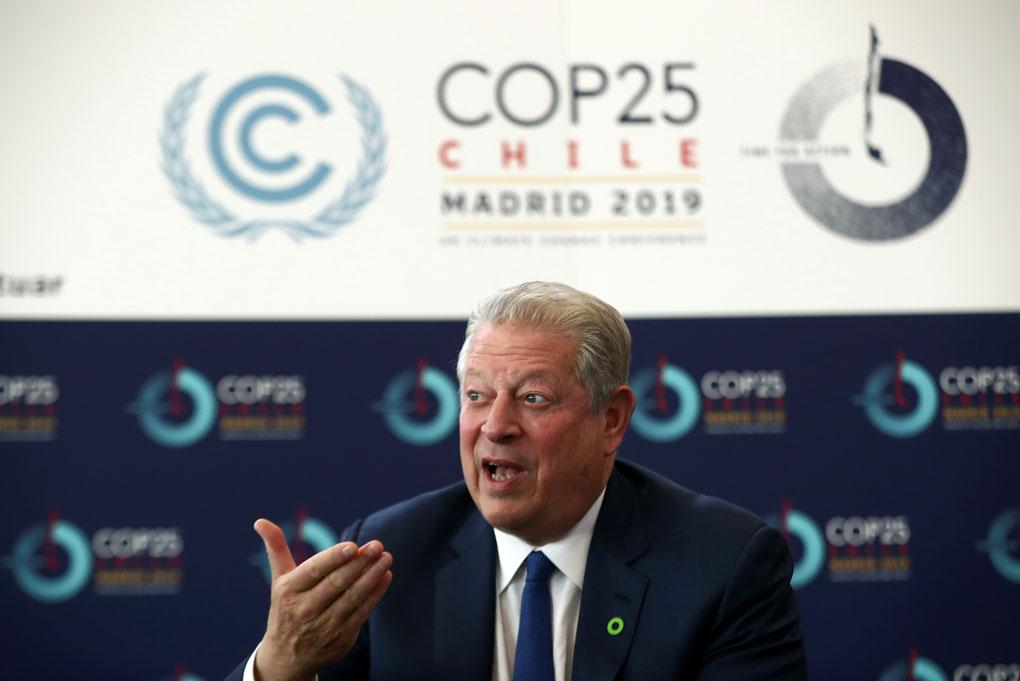 El exvicepresidente estadounidense y Premio Nobel de la Paz, Al Gore, en la COP25, en Madrid. REUTERS/Sergio Perez
