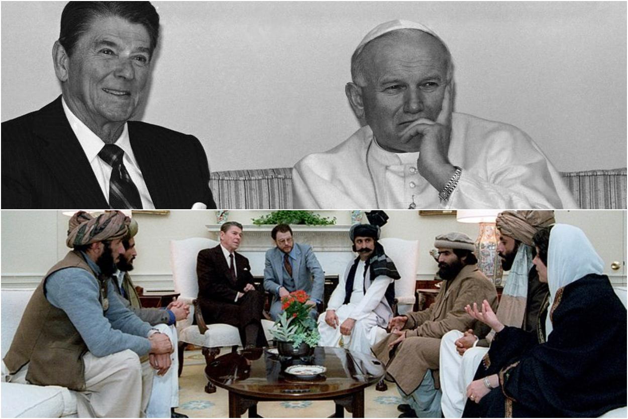 Ronald Reagan con Juan Pablo II y con los