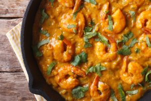 Curry de gambas.