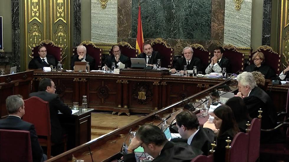Captura de la señal institucional del Tribunal Supremo, durante la declaración del exconseller de Territori, Josep Rull, en el juicio del